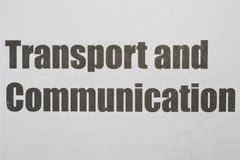 Transport and Communication Printed on a white background with black ink royalty free stock image