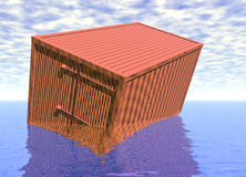 Transport Container Box Sinking in Water Stock Photography