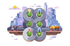 Transport cross road hub on cityscape background stock illustration