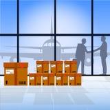 Transport d'air Concept de la livraison et d'expédition Boîtes en avion et en carton Photos libres de droits