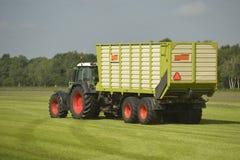 Transport d'herbe coupée avec le tracteur et la remorque Photo stock