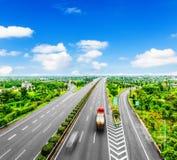 Transport de camion de récipient Images libres de droits