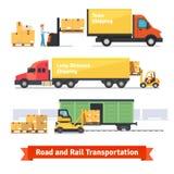Transport de cargaison par la route et chemin de fer Image libre de droits