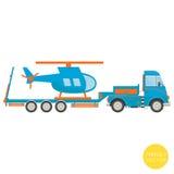 Transport de dessin animé Camion avec l'illustration d'hélicoptère Vue de côté Images stock