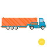 Transport de dessin animé Illustration de camion de semi-remorque Vue de côté Image stock