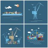 Transport de marchandises international, icônes de cargaison Photos libres de droits