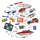 Transport de RC, modèles à télécommande jouets ou instruments placez les détails dispositifs, équipement, outils pour le service  illustration de vecteur