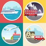 Transport de variations de la visite de vacances de voyage infographic Croisière, autobus, volant sur l'avion, fond de voyage de  Image libre de droits