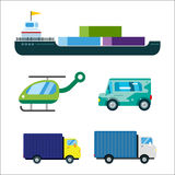 Transport delivery vector isolated white transportation car bus van fire truck helicopter ship silhouette icon tanker Stock Photos