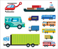 Transport delivery vector isolated white transportation car bus van fire truck helicopter ship silhouette icon tanker Stock Photo