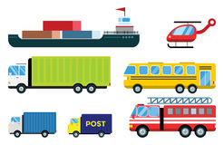 Transport delivery vector isolated white transportation car bus van fire truck helicopter ship silhouette icon tanker. Transport delivery vector trucks ship Stock Photo