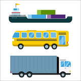 Transport delivery vector isolated white transportation car bus van fire truck helicopter ship silhouette icon tanker. Transport delivery vector trucks ship Royalty Free Stock Photography