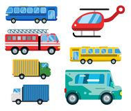 Transport delivery vector isolated white transportation car bus van fire truck helicopter silhouette icon business. Transport delivery vector trucks isolated on Royalty Free Stock Photos
