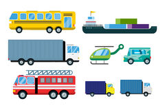 Transport delivery vector trucks isolated on white. Transportation cars, bus, truck, van, fire truck, city cars, helicopter, mini car, van truck. Delivery van Stock Photography