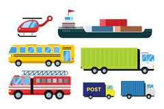 Transport delivery vector trucks  on white. Transportation cars, bus, truck, van, fire truck, city cars, helicopter, mini car, van truck. Delivery van vector Stock Images