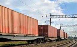 Transport des cargaisons par chemin de fer Images libres de droits