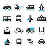 Transport, die eingestellten Reiseikonen isoalted auf Weiß Stockbild