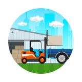 Transport-Dienstleistungen und Lagerung, Ikone Stockfotos