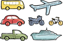 Transport doodle. Colourful transport icons sketch style. Vector illustration Royalty Free Stock Images