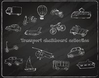 Transport doodle set chalkboard Royalty Free Stock Photography
