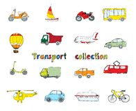 Transport doodle set colored Stock Photo