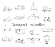Transport doodle set Stock Photography