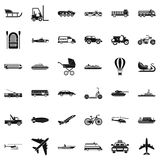 Transport with driver icons set, simple style Royalty Free Stock Photo