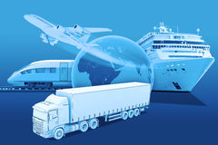 Transport with earth globe and ship Royalty Free Stock Photo