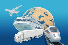 Transport with earth globe and ship on blue Royalty Free Stock Images