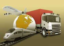 Transport with earth and railway Stock Photography