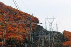 Transport elektryczna energia przez drutów Zdjęcia Stock