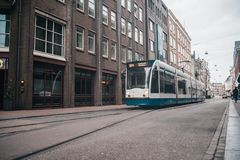 Transport en commun moderne ? Amsterdam, Pays-Bas images libres de droits