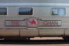 Transport en commun par chemin de fer de fond le Ghan, Australie image libre de droits