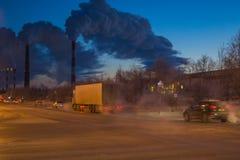 A factory emits smoke royalty free stock image