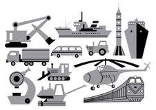 Transport, equipment, machinery. Vector silhouettes of different transport, equipment, machinery isolated Stock Photo