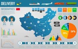 Transport et logistique de la Chine La livraison et éléments infographic de expédition Vecteur Image libre de droits
