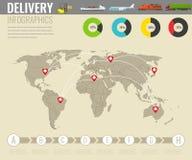 Transport et logistique du monde La livraison et éléments infographic de expédition Vecteur Photo stock