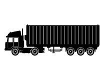 Transport för last för leverans för behållare för konturlastbilsläp royaltyfri illustrationer