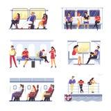 Transport för passagerarefolk offentligt Man och kvinna för vektor ansiktslös royaltyfri illustrationer