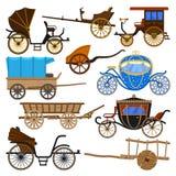 Transport för vagnsvektortappning med gamla hjul och antik trans.illustrationuppsättning av den kungliga lagledaren och triumfvag royaltyfri illustrationer