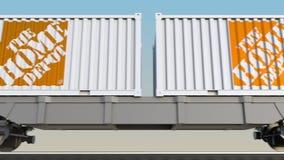 Transport ferroviaire des récipients avec le logo de Home Depot 3D éditorial rendant l'agrafe 4K banque de vidéos