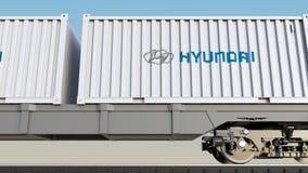Transport ferroviaire des récipients avec le logo de Hyundai Motor Company Rendu 3D éditorial Image libre de droits