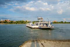Transport ferry on the danube river Stock Photo