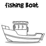 Transport of fishing boat hand draw. Vector art Stock Image