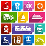 Transport flat icon, bright color. Transport flat icons with shadow, stickers square shapes, bright colors - Set 01 Royalty Free Stock Image