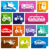 Transport flat icon, bright color-04. Transport flat icons with shadow, stickers square shapes, bright colors - Set 04 Stock Photos