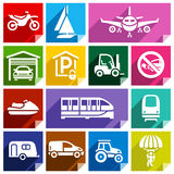 Transport flat icon, bright color-08. Transport flat icons with shadow, stickers square shapes, bright colors - Set 08 Stock Photography