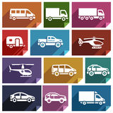 Transport flat icon-03. Transport flat icons with shadow, stickers square shapes, retro colors - Set 03 Royalty Free Stock Photo