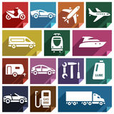 Transport flat icon-09. Transport flat icons with shadow, stickers square shapes, retro colors - Set 09 vector illustration