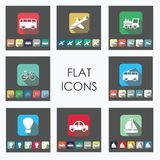 Transport flat icons set Royalty Free Stock Images